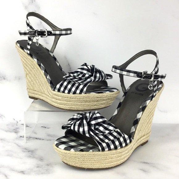 5358c3160fc3 Guess Shoes - GUESS Gingham Platform Wedge Sandals